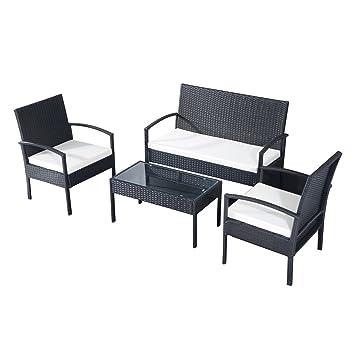 Conjunto de Muebles Poli Ratán para Jardín Terraza Patio - 3 Cojines ...