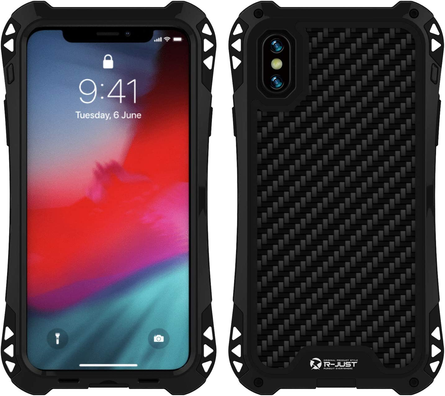 Simicoo iPhone Xs Aluminum Metal Bumper Military Heavy Duty Dual Layer Flexible Silicone TPU Carbon Fiber Rugged Hard Shockproof Case for iPhone Xs 5.8 inch (Black/Black, iPhone Xs)