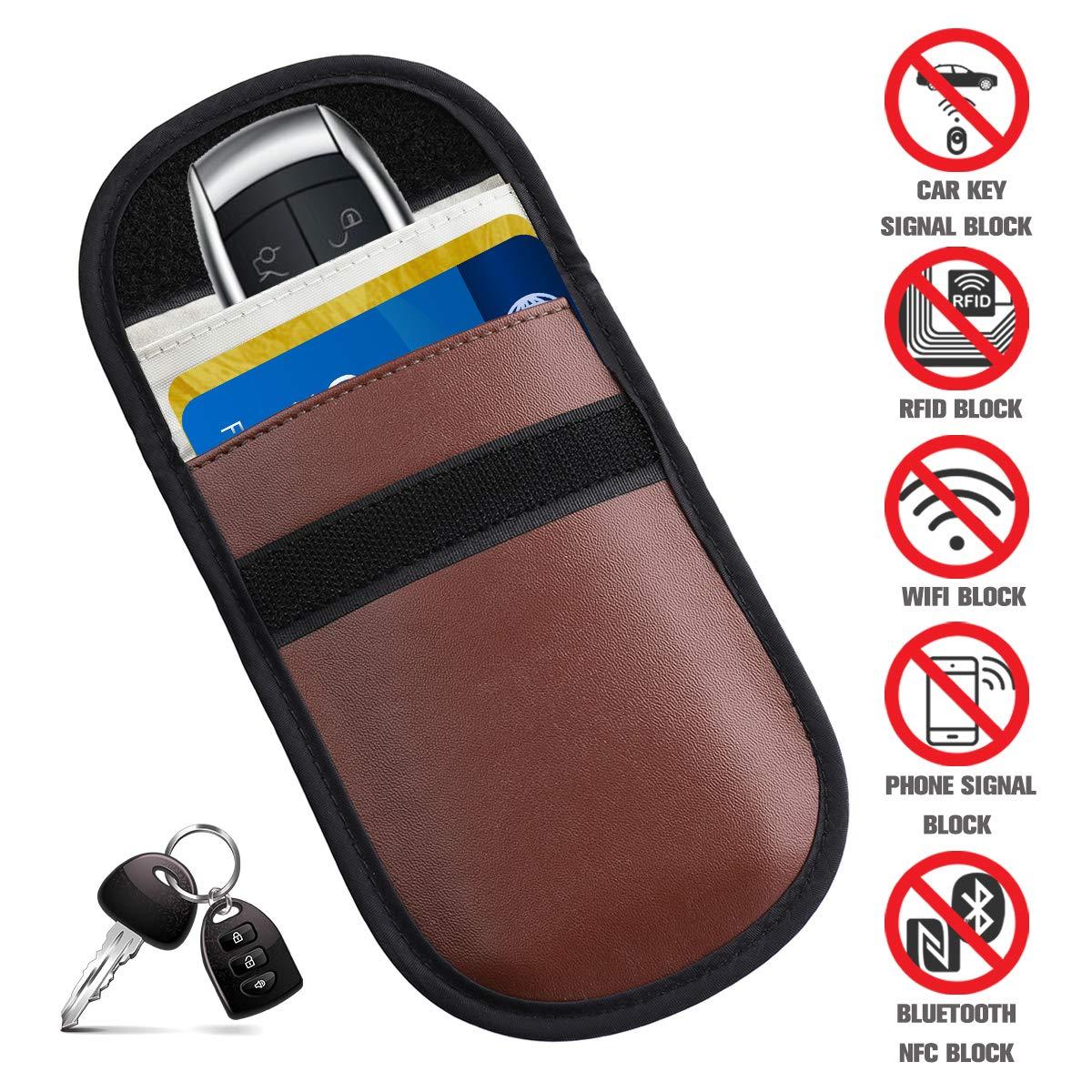 Tvird Car Key Signal Blocker Pouch, PU leather Keyless Car Key Signal Blocker | Anti Theft Fob Protector | Blocks RFID/WiFi/GSM/NFC(Pink) Tvirdfgdfbgfd209