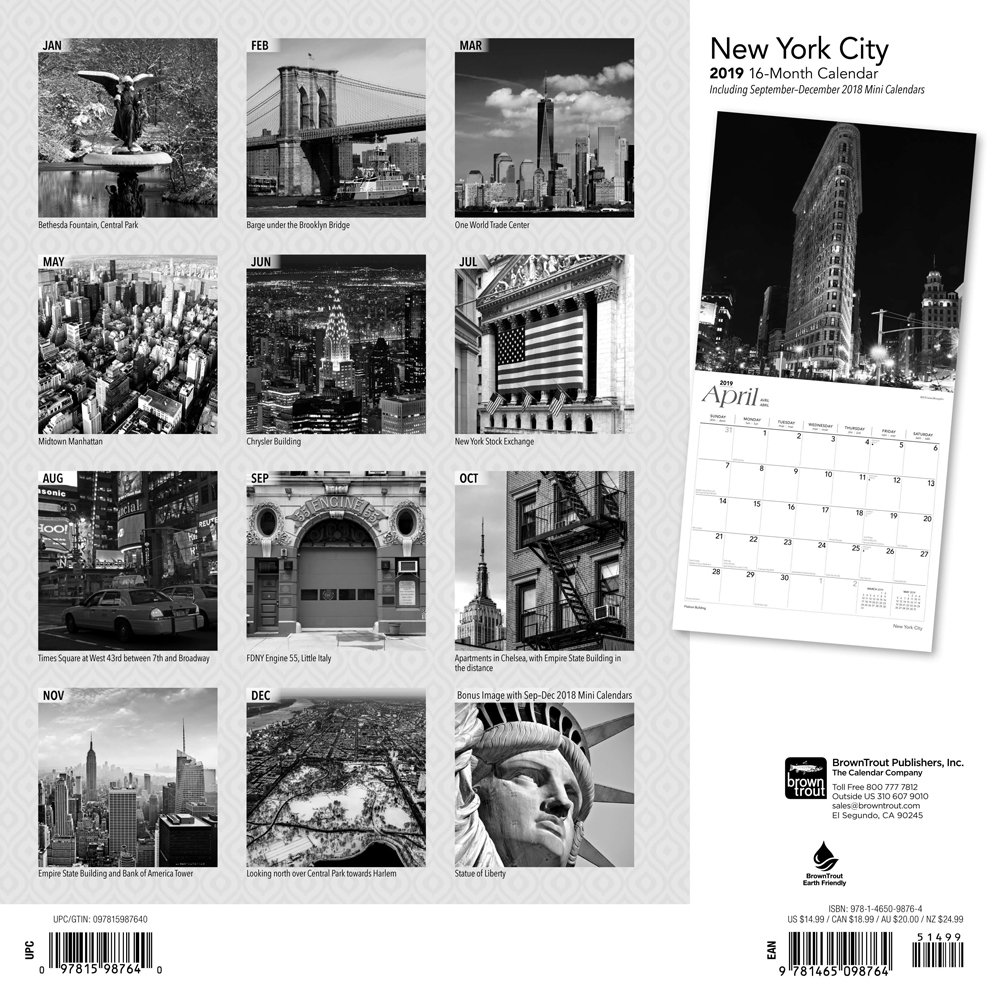 New york city black white 2019 square wall calendar amazon co uk browntrout books
