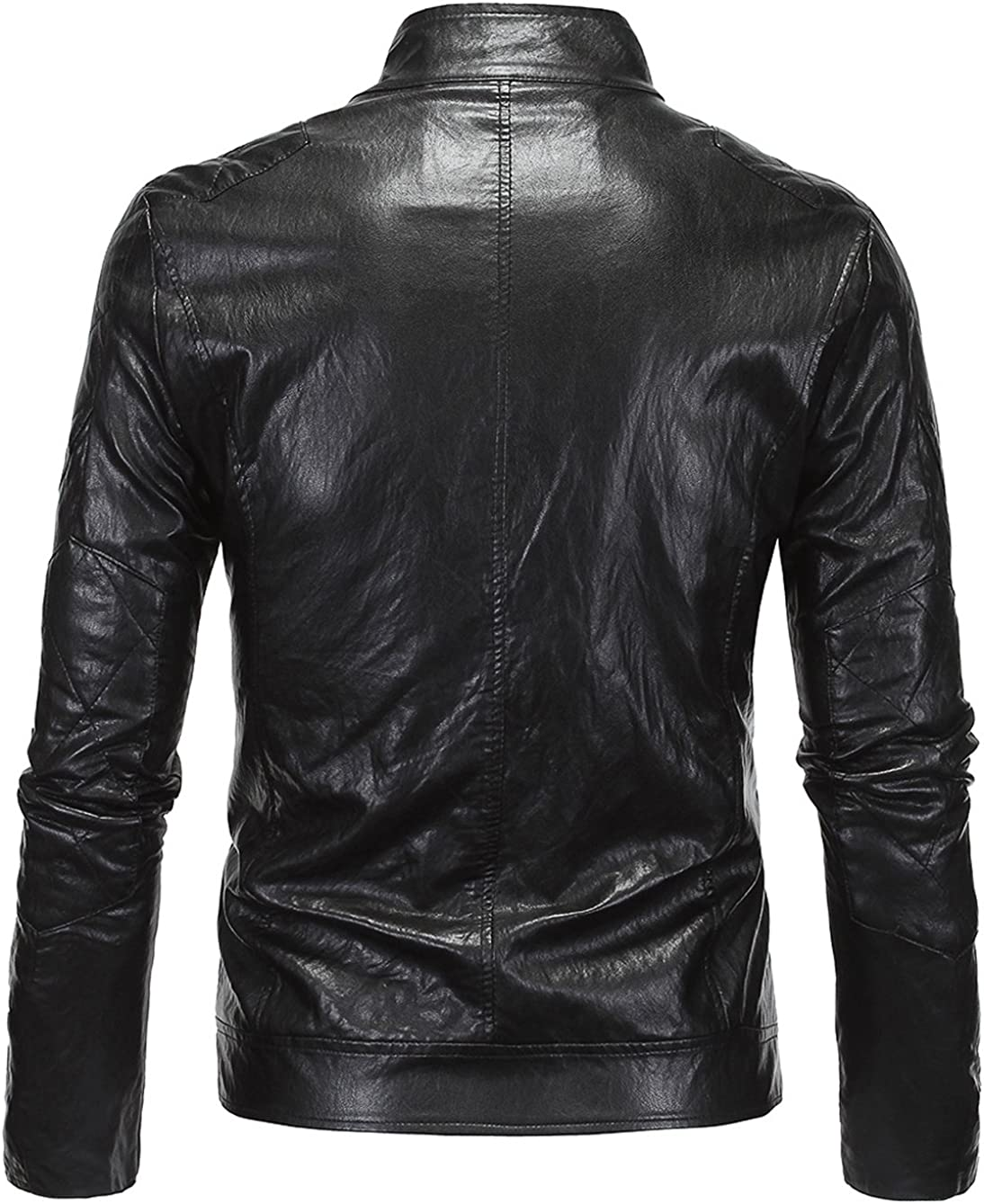 Youhan Mens Stand Collar Moto Biker Faux Leather Jacket