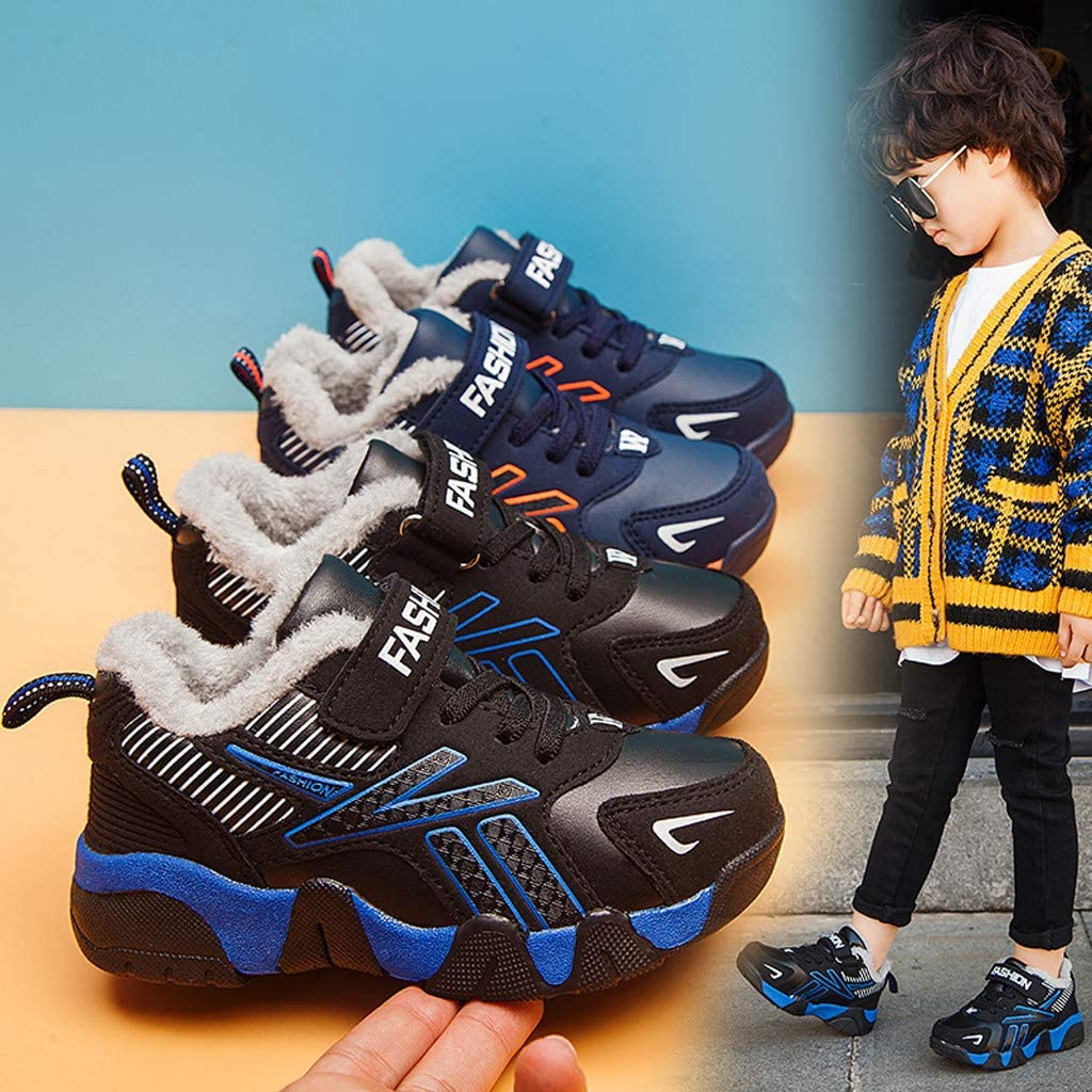 Girls Boys Children Winter Warm Shoes Plus Velvet Sneakers 5-16 Years Old Fashion Teen Outdoor Running Shoes