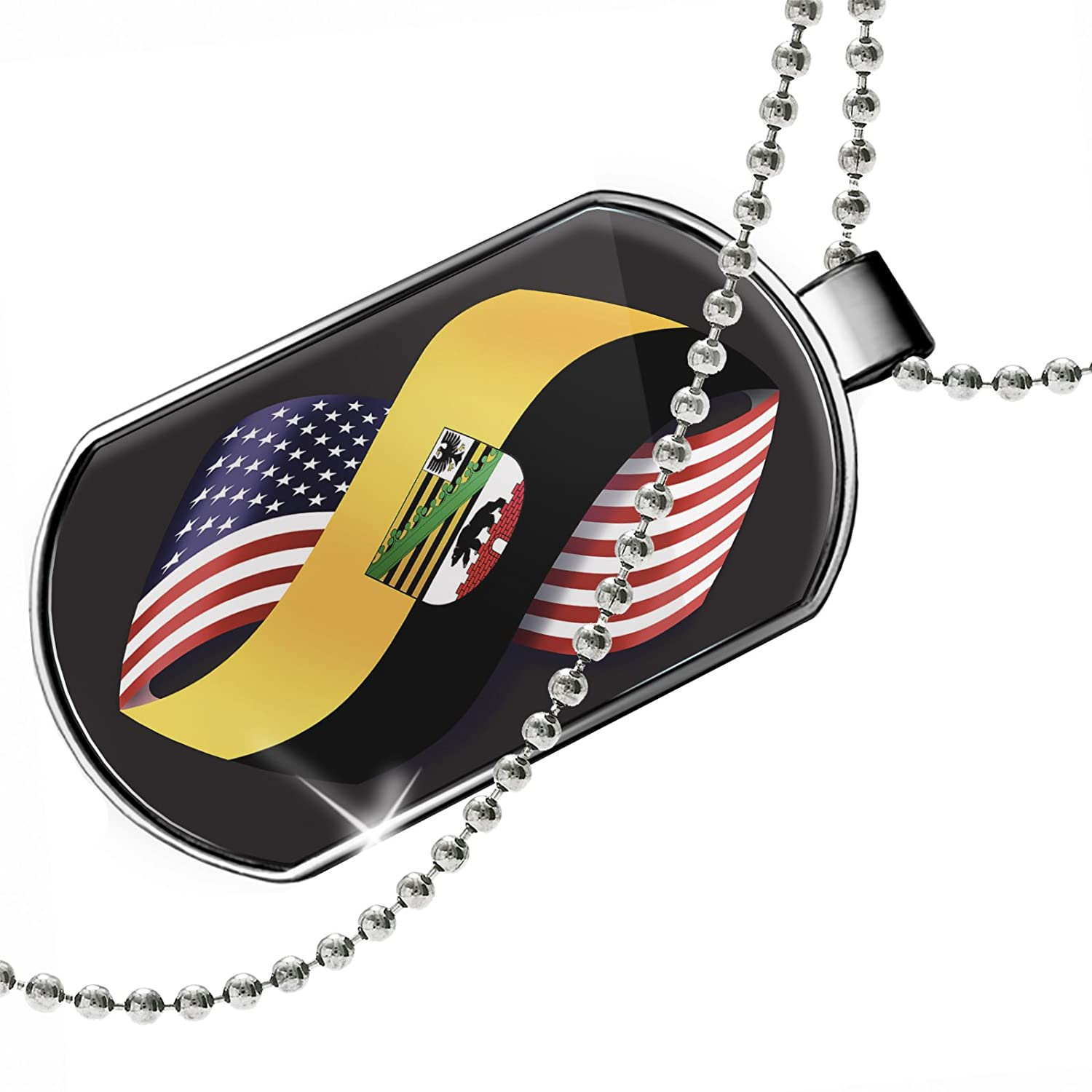 NEONBLOND Personalized Name Engraved Friendship Flags USA and Sachsenanhalt Region Germany Dogtag Necklace