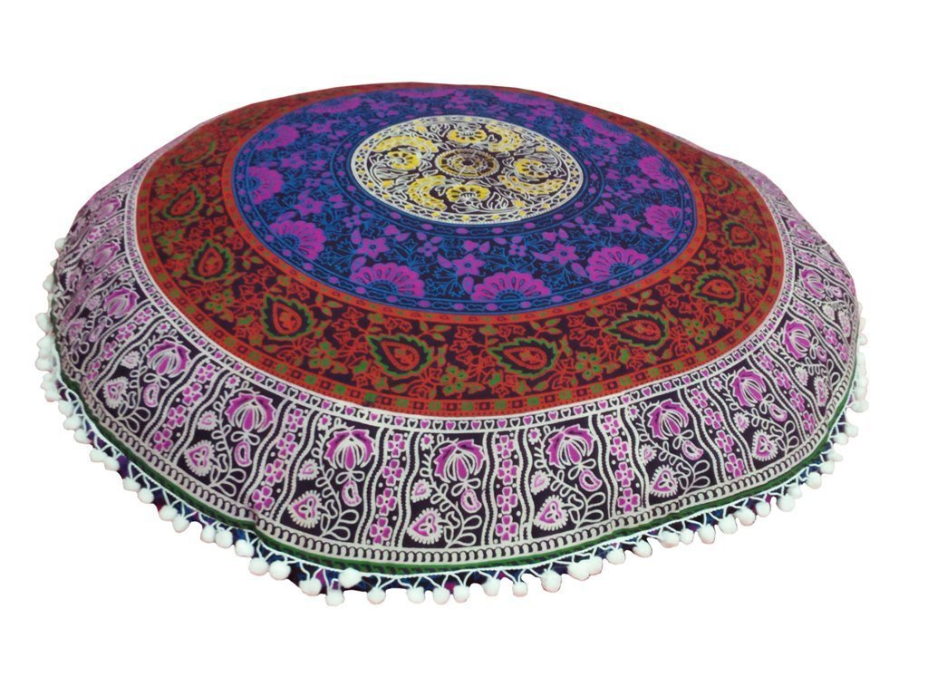 yuvancrafts Bohemian Decor Floor Cushion Cover - 32 inches - Round Floor Pillow Pouf Cover - Colorful 100% Hand Printed Organic Cotton By