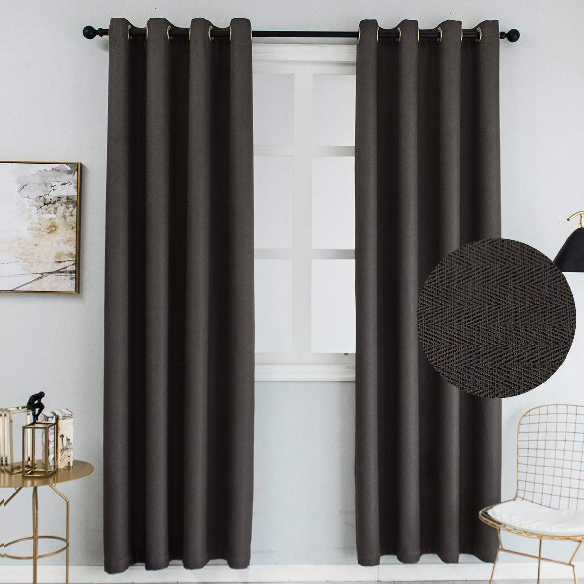 Colokey Blackout Curtain for Bedroom Window Treatments Single Panel for Living Room,Grey,100x84-inch,1 Panel