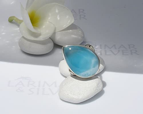 Larimar ring size 8 by Larimarandsilver Larimar teardrop ring silverblue streammountain stormLarimar jewelrygift for her Wild River