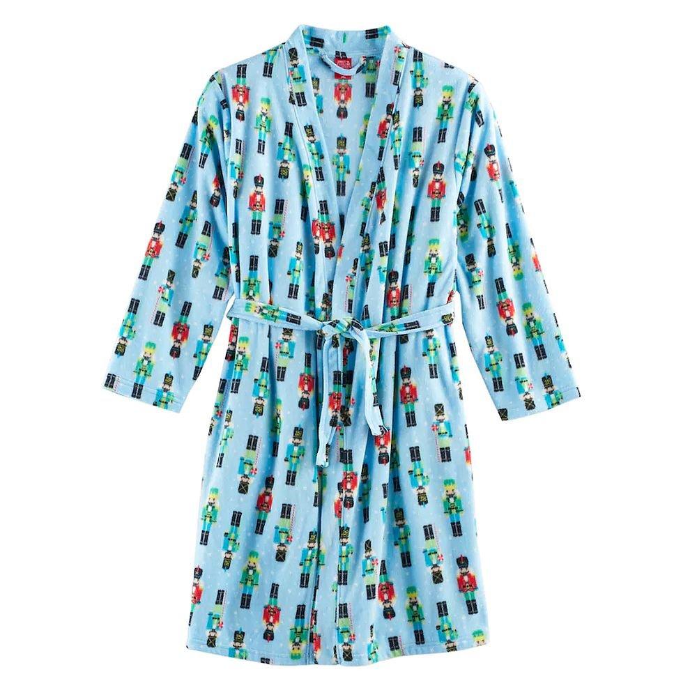 Jammies For Your Families Girl's Blue Christmas Holiday Nutcracker Fleece Bathrobe, Robe (7/8)
