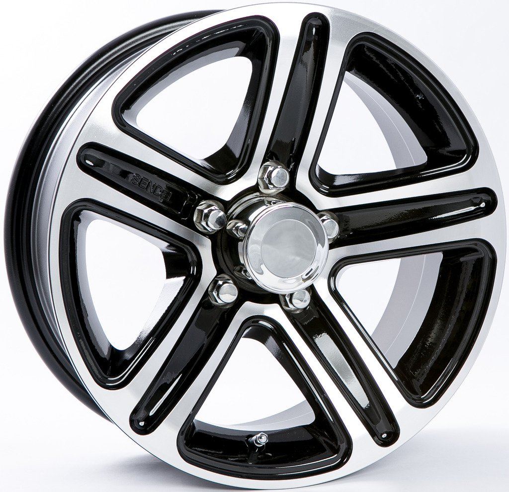 TWO (2) Aluminum Sendel Trailer Rims Wheels 5 Lug 13'' T09 Black Style by eCustomRim (Image #1)
