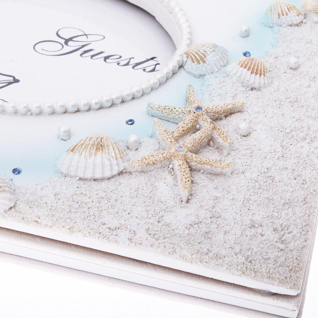 B Blesiya Seaside Beach Th/ème Mariage Signature Livre dor avec Coque en R/ésine D/étoile De Mer