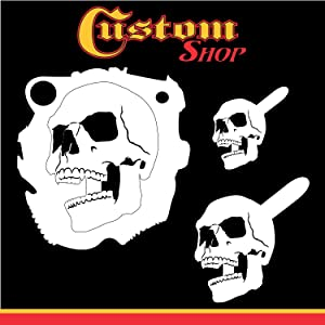 Custom Shop Airbrush Stencil Skull Design Set #4 (3 Different Scale Sizes) - 3 Laser Cut Reusable Templates - Auto, Motorcycle Graphic Art