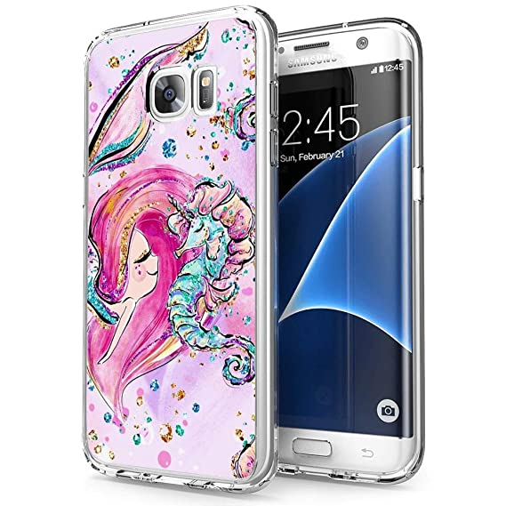 online retailer a10cb ed534 Amazon.com: Mermaid and Seahorse Samsung Galaxy S7 Case Clear, by ...