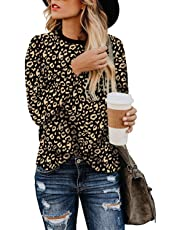 Mulisky Women's Leopard Print Shirts Crew Neck Casual Tunic Tops Basic Long Sleeve Blouse