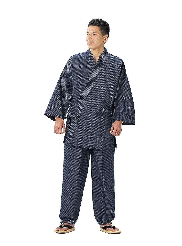 WATANOSATO Samue von Bunjin (Gitter-Muster), japanische Kleidung, Größe für Herren Gr. Large, marineblau 7350-L-kon