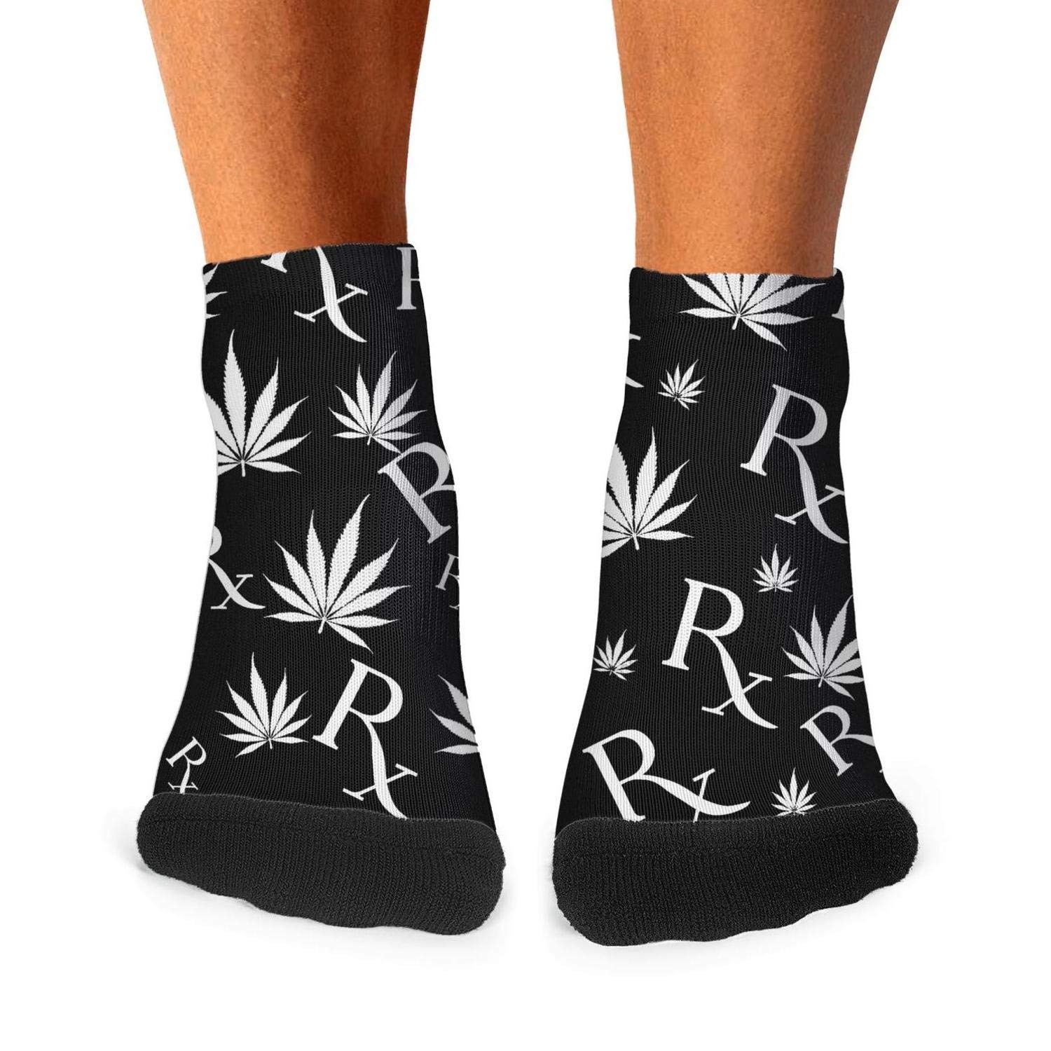 Floowyerion Mens Black White Marijuana Leaf And Prescription Symbol Novelty Sports Socks Crazy Funny Crew Tube Socks