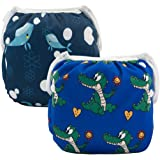 ALVABABY Swim Nappies Diapers Boys Reuseable Adjustable One Size 2pcs Baby Gifts