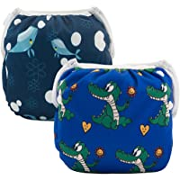 ALVABABY Swim Diapers 2pcs Reuseable Washable for Baby Swimming Lessons (Whale & Alligator, 0-2 Years Old) DYK31-32