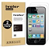 [2-Pack] iPhone 4 / 4S Protection écran , iVoler® Film Protection d'écran en Verre Trempé Glass Screen Protector Vitre Tempered pour Apple iPhone 4 / 4S - Dureté 9H, Ultra-mince 0.30 mm, 2.5D Bords Arrondis- Anti-rayure, Anti-traces de doigts,Haute-réponse, Haute transparence- Garantie de Remplacement de 18 Mois