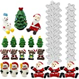 JUNKE 39 PCS Miniature Great Deal Christmas Miniature Ornament Kit DIY Fairy Garden Dollhouse
