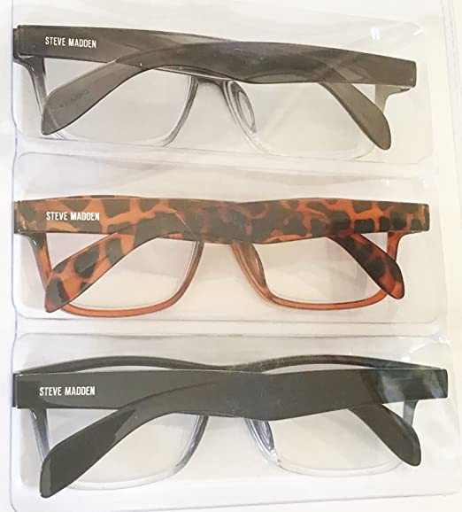 4ca50080f14 Amazon.com  Steve Madden Two Tone Fashion Reading Glasses 3 Pack +2.50  Readers  Health   Personal Care