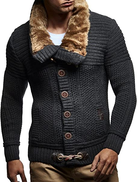 LEIF NELSON Herren Strickjacke Schalkragen Slim Fit Winter