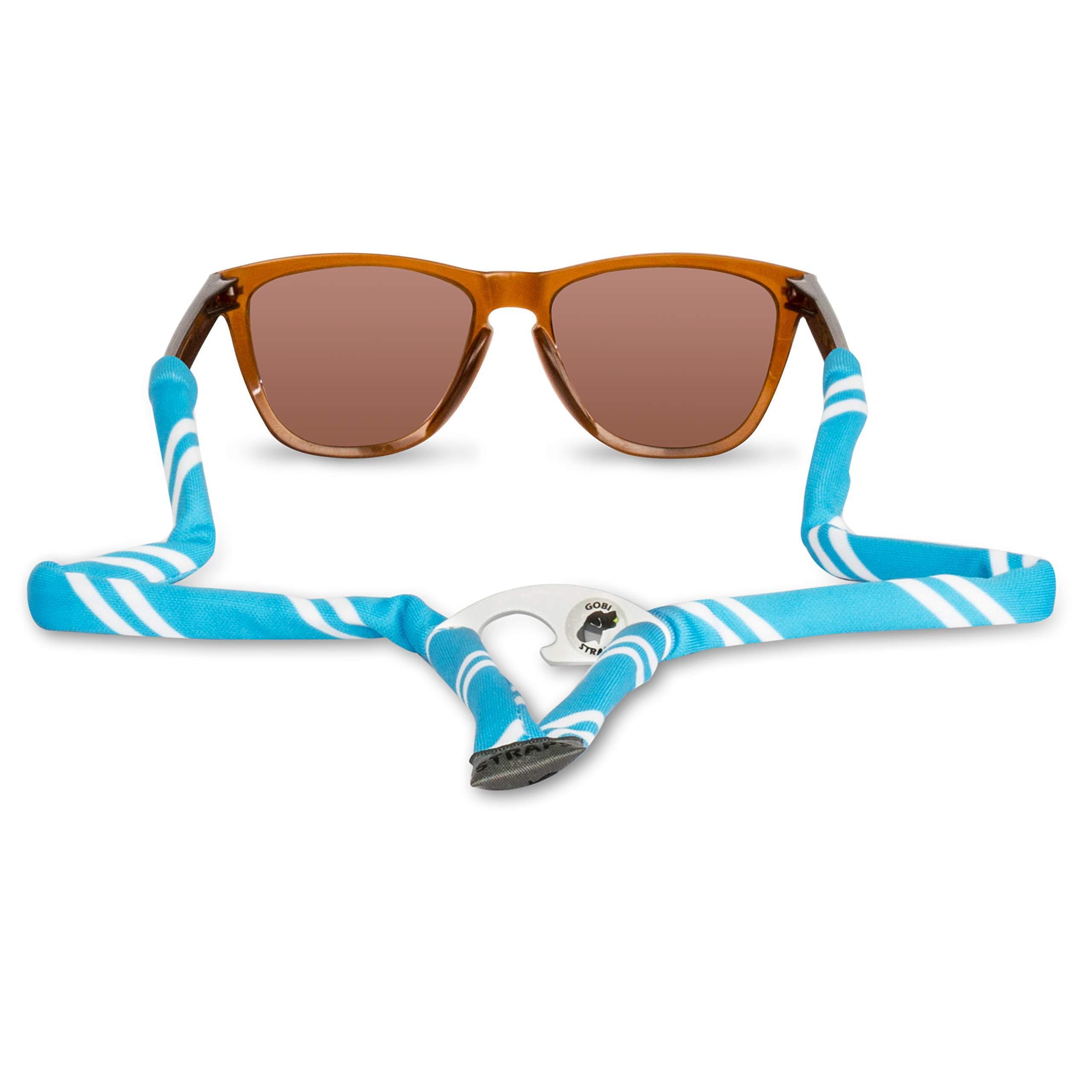 Gobi Straps Sunglass Straps Built-in Bottle Opener | Sunglass Retainers, Sunglass Lanyard, Sunglass Cord | Quick Drying | Powder Blue & White Stripes