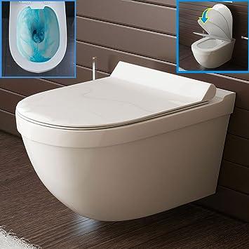 Schön Wand-WC Spülrandlos Weiss Keramik Hänge Toilette inkl. Duroplast  GG49