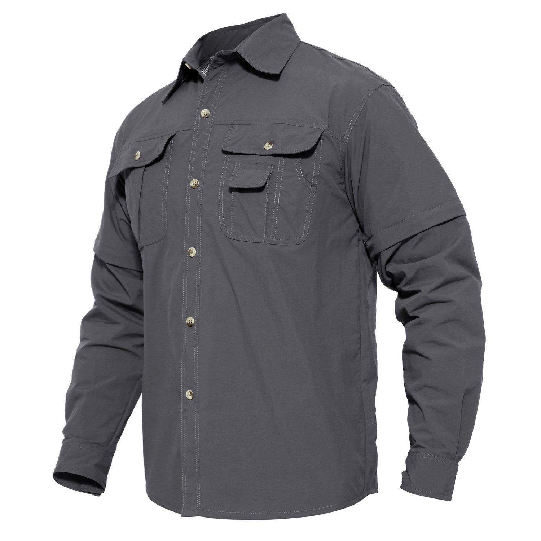 MAGCOMSEN Men's Quick Dry Breathable Convertible Long Sleeve Rip-Stop Shirt MCSXLCS-63