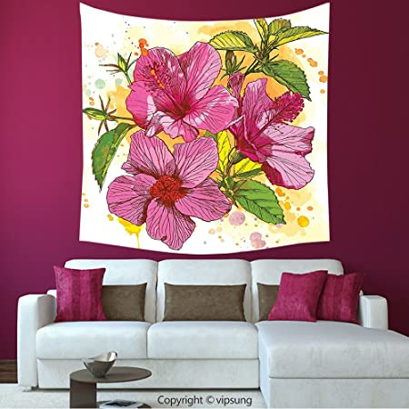 House Decor Square Tapestry-Floral Vibrant Hibiscus Flower Bouquet ...