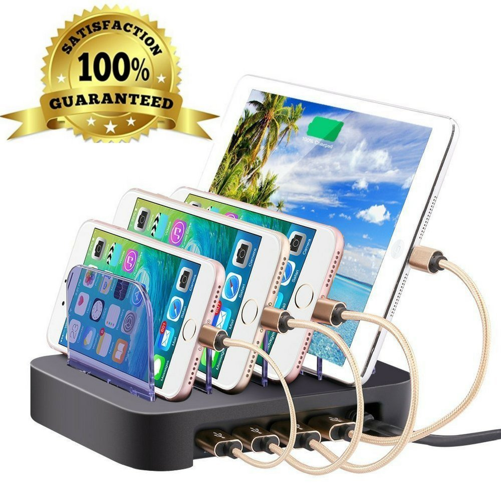 4 Port Charging Station Cell Phone Charging Hub Charger Dock Station Organizer Quick Charge Multi Phone Desktop Charging Station for Multiple Devices Iphone Ipad Kindle Tablet by FineLine Express