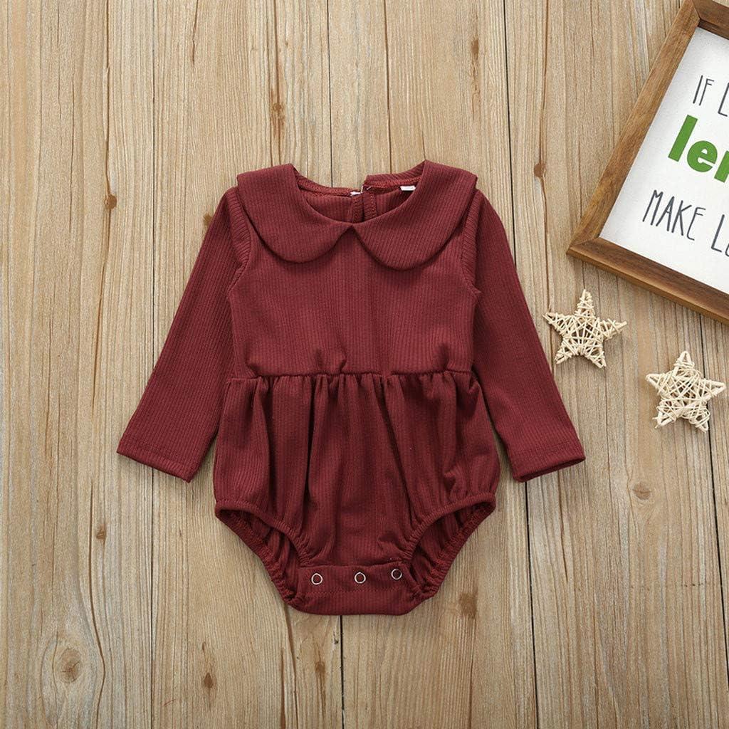 iNoDoZ Newborn Infant Baby Girls Long Sleeve Solid Ruffle Bodysuit Romper Clothes