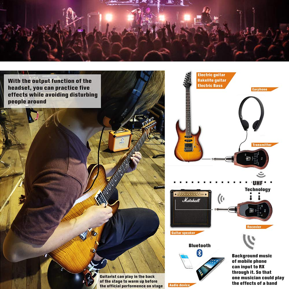 Electric Guitar Effects Portable Mini effects Rechargeable Electric Guitar Wireless System Transmitter Receiver Effects,Perfect 5 Sound Effects ...
