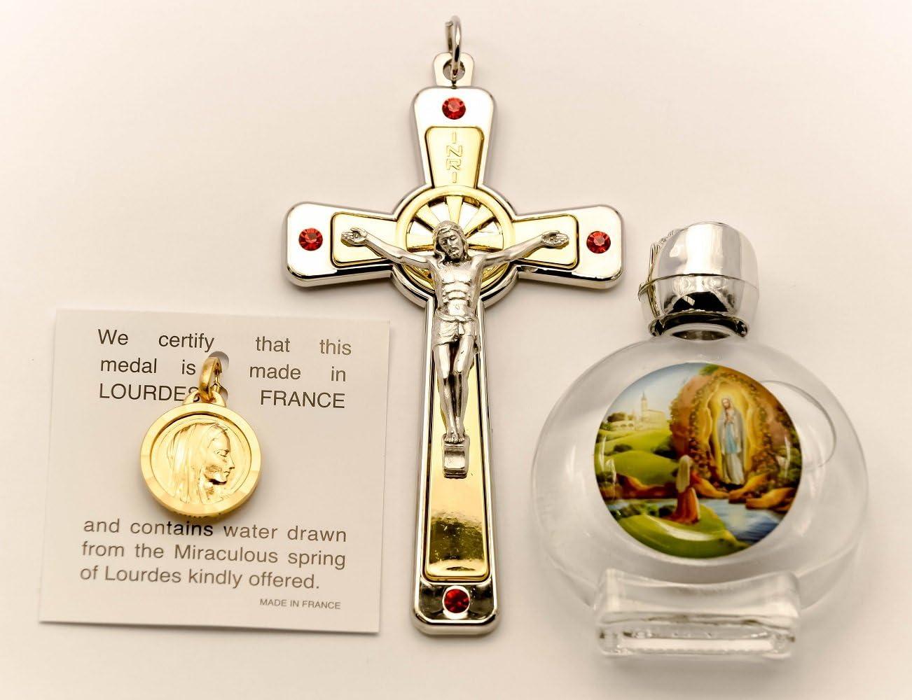 Lourdes - Set de regalo católico de agua, colgante de nuestra Señora de Lourdes, crucifijo de metal con cristales de Swarovski, botellas de Lourdes, tarjetas de oración de Lourdes