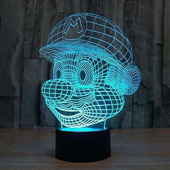 Todo para el streamer: 3D Lámpara de Escritorio Win-Y LED 7 del tacto del color de la lámpara del dormitorio del hogar decoración de la oficina para los niños y regalo de Navidad de cumpleaños (G)           [Clase de eficiencia energética A]