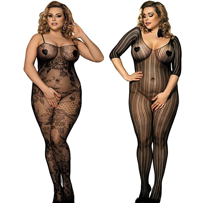 7622dbdbcea Amazon.com  LOVELYBOBO 2 Pack Plus Size Womens Sexy Lingerie ...