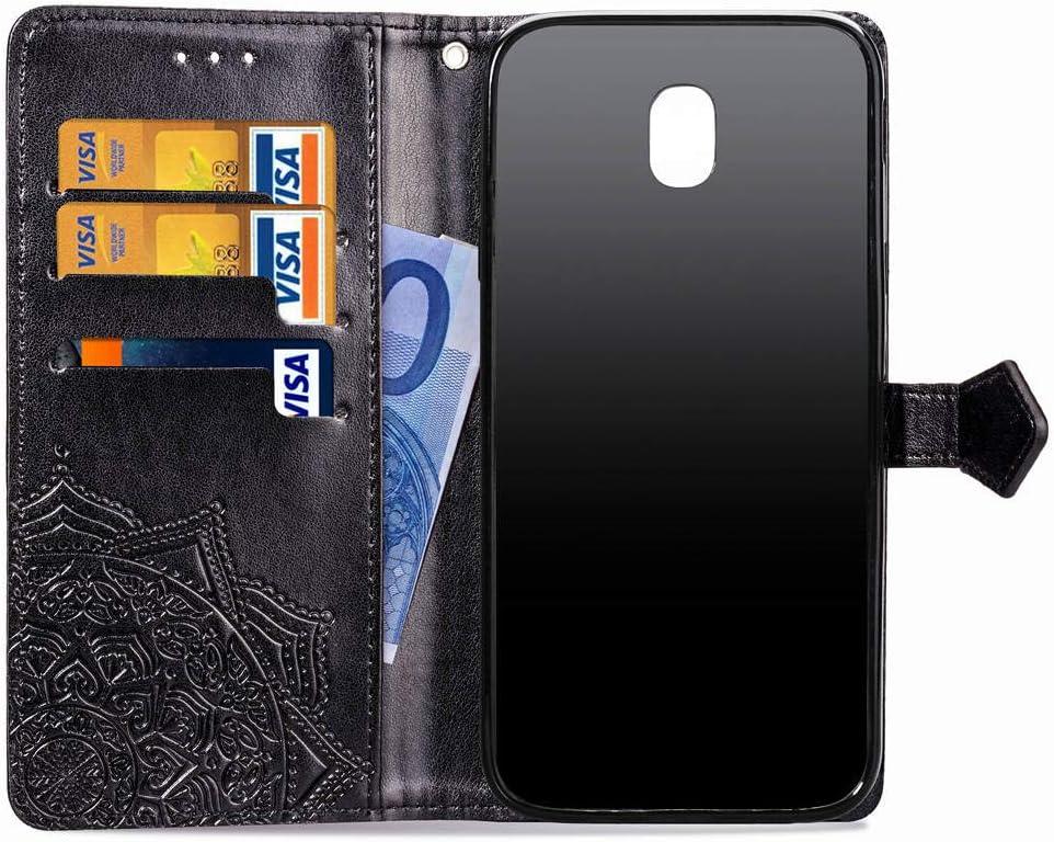 SD Mandala Slim Premium PU Flip Cover Mandala Embossed Full Body Protection with Card Holder Samsung Galaxy J7 2018//J7 Refine//J7 Star//J7 Eon//J7 TOP COTDINFORCA J7 2018 Wallet Case Gray