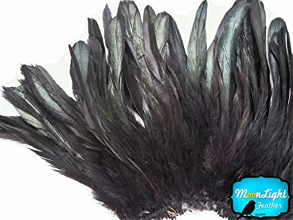 BLACK Dyed Half Bronze Strung Rooster Schlappen Feathers 4 Inch Strip
