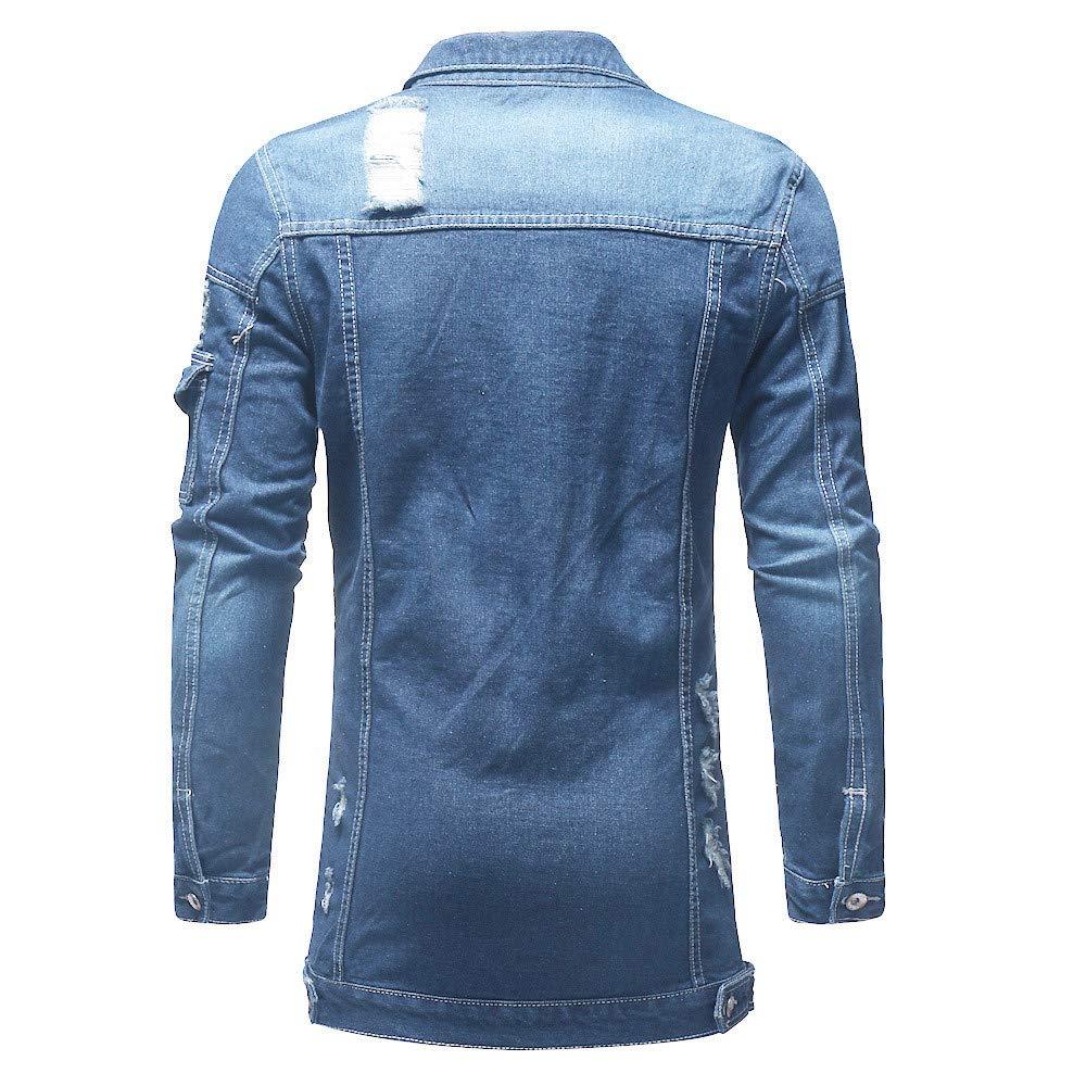 Coats for Men with Patches LULUZANM Mens Autumn Winter Casual Vintage Wash Distressed Denim Jacket Coat Top Blouse (M, Blue) - - Amazon.com