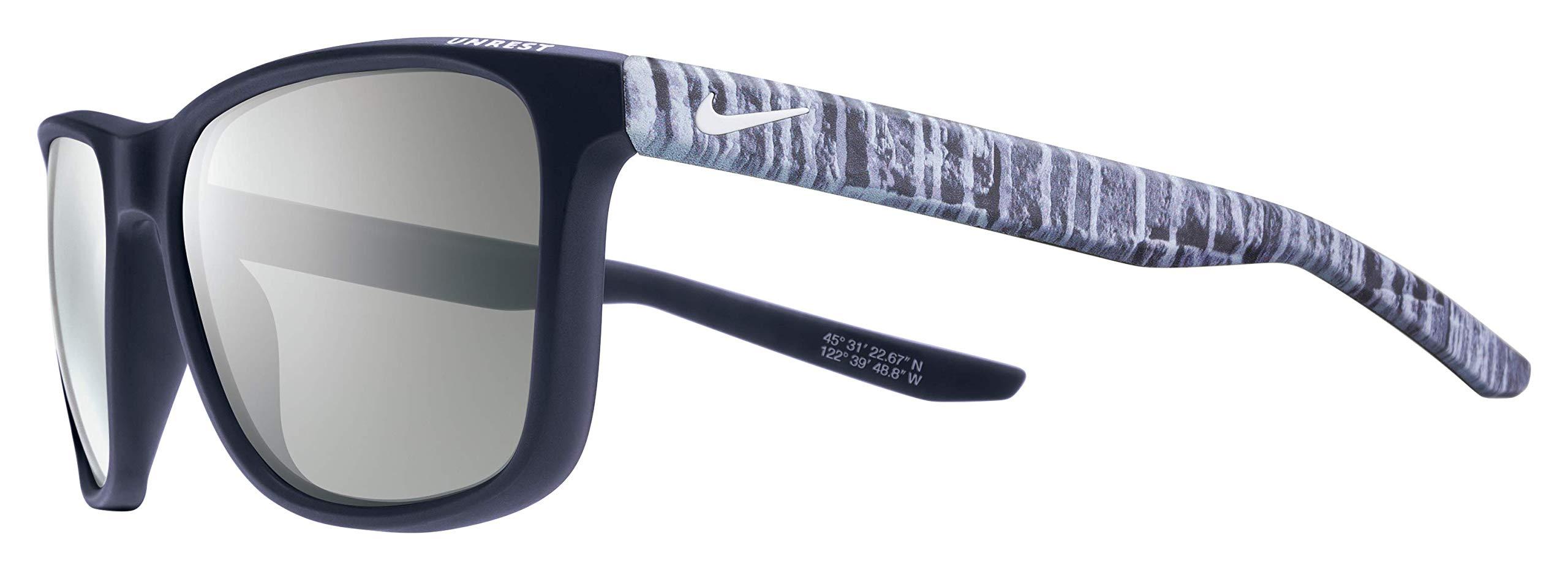Nike Golf Men's Unrest Se Rectangular Sunglasses, Matte Dark Obsidian/White Frame, 57 mm