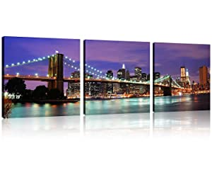 TutuBeer 3 Panel New York City Wall Art Brooklyn Bridge Wall Art Broooklyn Bridge Night View Modern Landscape Artwork Canvas Prints Abstract Pictures on Canvas Wall Art for Home Decor Wall Decor