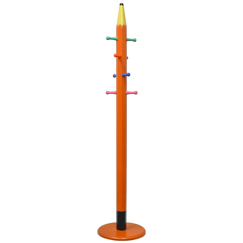 MyGift 6 pies naranja lápiz de madera perchero perchero de ...