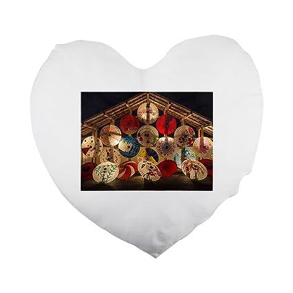 Fotomax Paraguas japonés, paraguas con forma de corazón funda de almohada