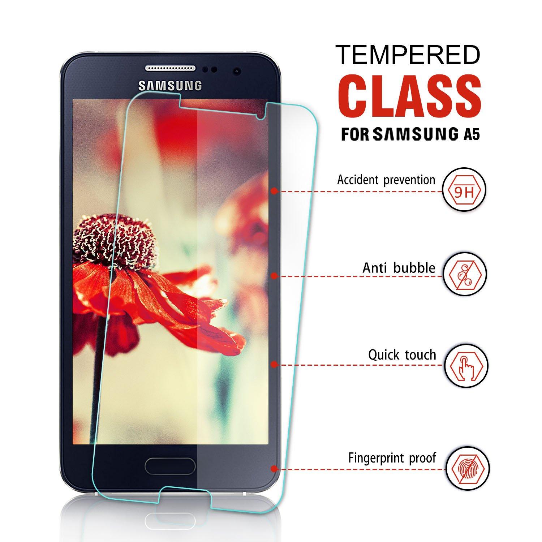 AONSEN Galaxy A5 2017 Protector de Pantalla, [2 Pack] Full Coverage Cristal Templado para Samsung Galaxy A5 Protector de Pantalla, Anti-Scratch, 9H Dureza, ...