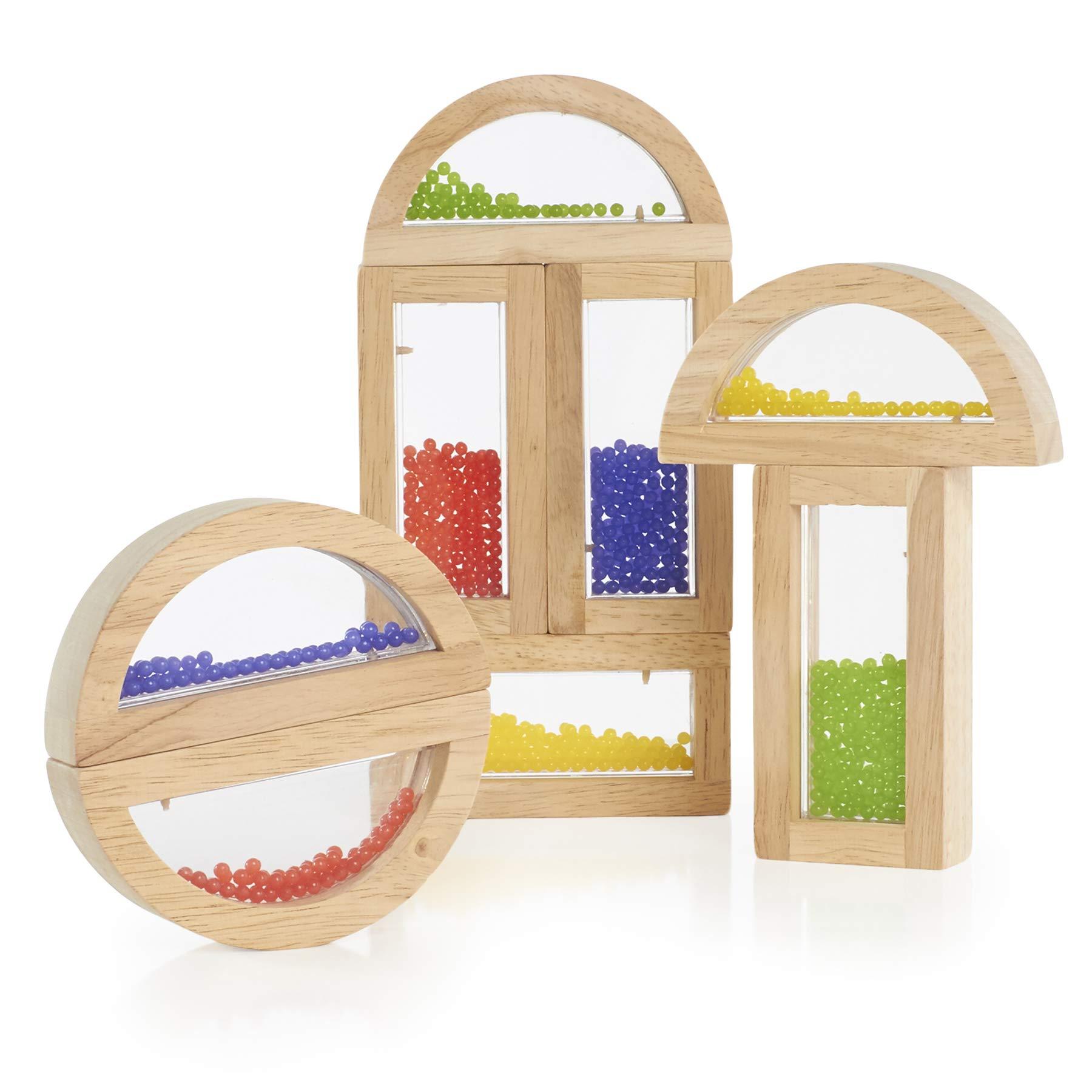 Guidecraft Rainbow Blocks - Crystal Bead, Educational Toy for Kids - Stacking Blocks