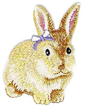 Cute blanco pequeño signo de conejo animal salvaje vida Hippie Retro Biker chaqueta camiseta chaleco Patch coser hierro en bordados insignia Custom: ...