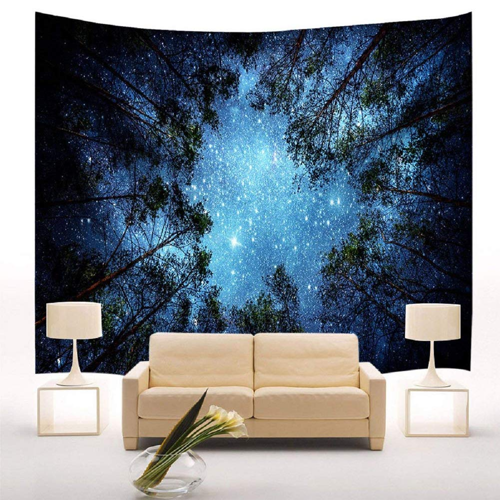 Forest Starry Tapestry Wall Hanging 3D Printing Forest Tapestry Galaxy Tapestry Forest Milky Way Tapestry Tree Tapestry Night Sky Tapestry Wall Tapestry Natural Landscape for Bedroom Wall Decor TIANXIN