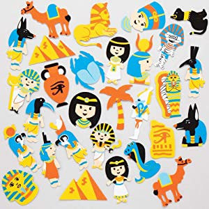 Baker Ross AT854 Egyptian Foam Stickers - Pack of 120, Self Adhesive Shapes for Kids Arts and Crafts Projects and Scrapbooking