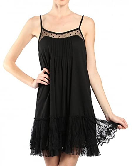 Ryu Designer Clothing | Ryu Rd3999 Black Lace Trim Slip Dress 1x Large At Amazon Women S