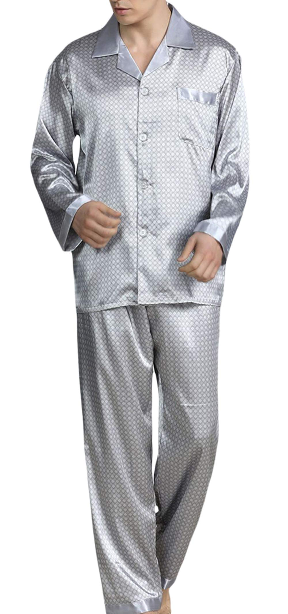 YIMANIE Mens Silk Satin Pattern Pajamas Set Classic Sleepwear Loungewear Long Sleeve Nightwear Set Sleep Shirt & Sleep Pant Silver Grey