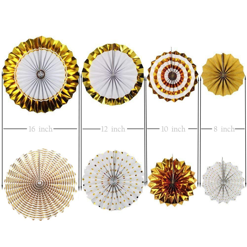 Gold Party Decorations 8 Pcs Paper Fan Flowers 20 Pcs Confetti balloons Pennant Banner 15 pcs Tissue Paper Tassels Garland Birthday Party Supplies for Wedding Baby Shower Outdoor Wall Decorations by RSMY (Image #6)