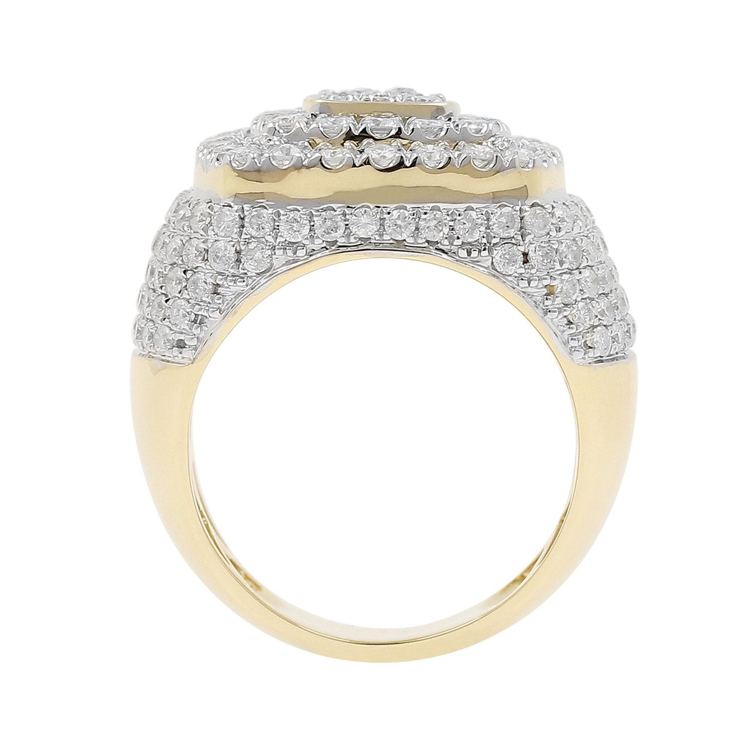 4.15 Carat 10kt Yellow Gold Diamond Cluster Men's Statement Pinky Ring by Isha Luxe-Mens Collection (Image #3)